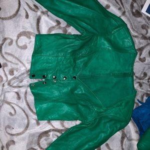 leather shirt and skirt set